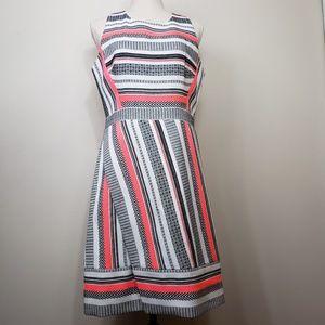 Kate Spade Black And White Pink Neon Stripe  Dress